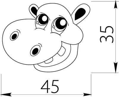 Buton copii hipopotam1