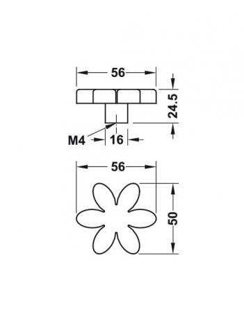 Buton floare verde pentru mobilier copii1
