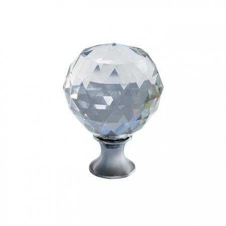 Buton modern pentru mobilier CRPA, crom lucios + cristal transparent D: 20 mm0