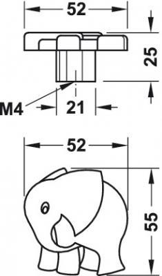 Buton pentru mobila Gaggi, finisaj roz, 52x55 mm [1]