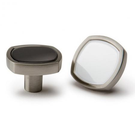 Buton pentru mobila Quattro, finisaj negru/nichel periat, L:28 mm [2]