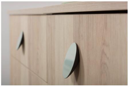 Buton pentru mobila Topo, finisaj gri/verde, D:80 mm [2]