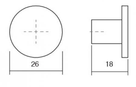 Buton pentru mobilier Como, cupru periat, D: 26 mm1