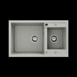 Chiuveta cu doua cuve gri deschis 80 cm/49 cm (233)1