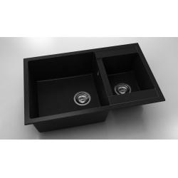 Chiuveta cu doua cuve negru metalic 80 cm/49 cm (233) [0]