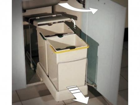 Cos de gunoi CR Eliot cu doua recipiente x 14 L pentru corp de 400 mm latime1