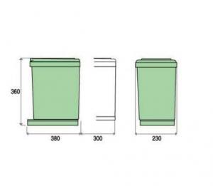 Cos de gunoi CR Davis cu doua recipiente pentru corp de 300 mm latime1