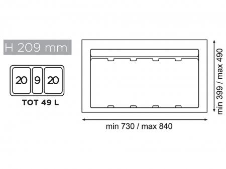 Cos de gunoi gri orion incorporabil in sertar, colectare selectiva, cu 3 recipiente, pentru corp de 900 mm latime1
