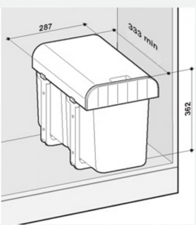 Cos de gunoi incorporabil Aladin cu un compartiment x 16 litri1