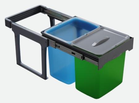 Cos de gunoi incorporabil, colectare selectiva, Ekko Easy cu 2 compartimente x 16 litri [0]