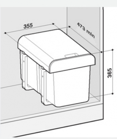 Cos de gunoi incorporabil Ekko  cu 2 compartimente x 16 litri1