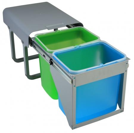 Cos de gunoi incorporabil Ekko Front cu 2 compartimente x 16 litri [0]