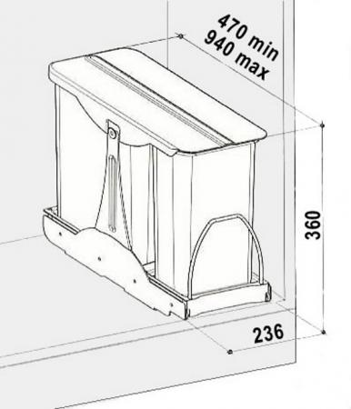 Cos de gunoi incorporabil in corp Patty, colectare selectiva, cu 2 recipiente 1 x 16 litri si 1 x 8 litri1