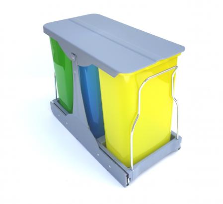 Cos de gunoi incorporabil in corp,Patty colectare selectiva cu 3 recipiente x 8 litri [2]