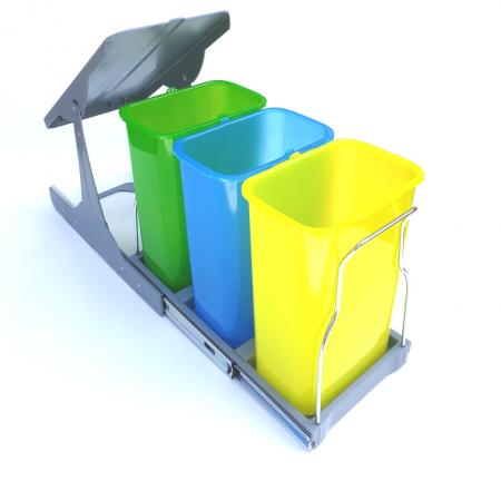 Cos de gunoi incorporabil in corp,Patty colectare selectiva cu 3 recipiente x 8 litri [0]