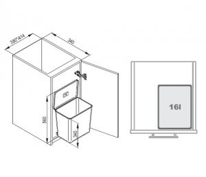 Cos de gunoi Sesamo incorporabil in dulap, cu 1 compartiment x 16 L, pentru corp de 450 mm latime2