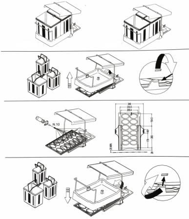 Cos de gunoi Oxa incorporabil in dulap cu 1 compartiment x 16 litri si 2x 7,5 litri1