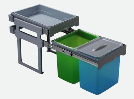 Cos de gunoi incorporabil Tank, colectare selectiva, cu 2 recipiente 2 x 16 litri si tavita multifunctionala0
