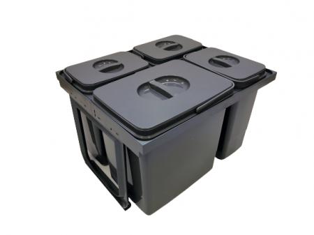 Cos de gunoi Jazz 45 incorporabil, colectare selectiva, 1 compartiment x15 litri si 3x7 litri, H300 mm0