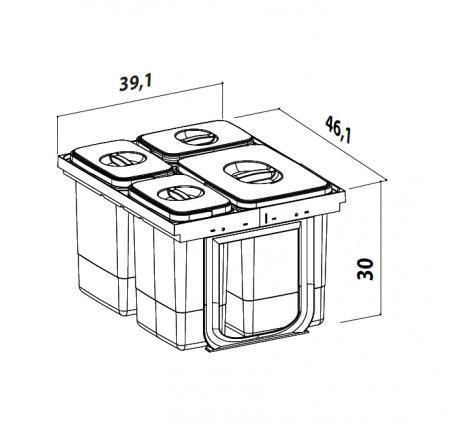 Cos de gunoi Jazz 45 incorporabil, colectare selectiva, 1 compartiment x15 litri si 3x7 litri, H300 mm4