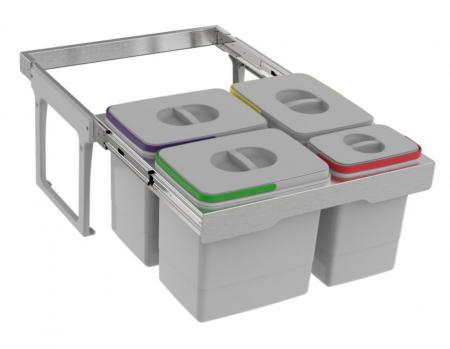 Cos de gunoi Jumbo 60 incorporabil, colectare selectiva, cu 3 compartimente x15 litri si 1x7 litri [0]