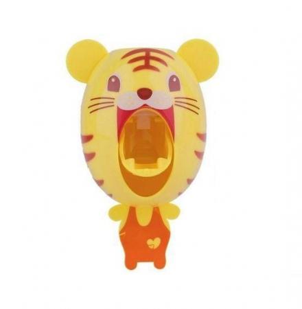 Dozator, dispenser pasta de dinti pentru copii model tigru montabil pe perete0
