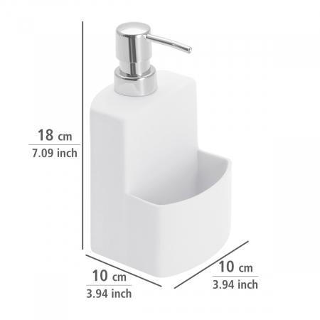 Dispenser sapun lichid cu suport burete, alb festival1