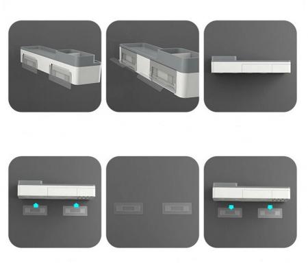 Dozator, dispenser pasta de dinți cu suport multifunctional magnetic pentru 2 pahare, 4 periute si suport telefon mobil de culoare gri cu alb3