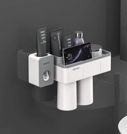 Dozator, dispenser pasta de dinți cu suport multifunctional magnetic pentru 2 pahare, 4 periute si suport telefon mobil de culoare gri cu alb2
