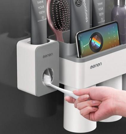 Dozator, dispenser pasta de dinți cu suport multifunctional magnetic pentru 2 pahare, 4 periute si suport telefon mobil de culoare gri cu alb4