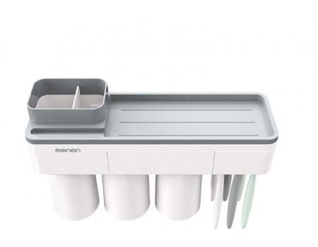 Dozator, dispenser pasta de dinti cu suport multifunctional magnetic pentru 3 pahare, 6 periute si suport telefon mobil de culoare gri cu alb0