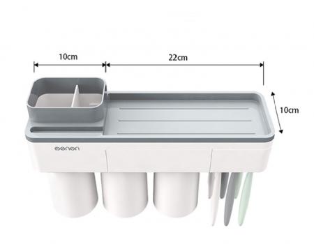 Dozator, dispenser pasta de dinti cu suport multifunctional magnetic pentru 3 pahare, 6 periute si suport telefon mobil de culoare gri cu alb1
