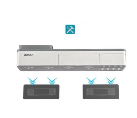 Dozator, dispenser pasta de dinti cu suport multifunctional magnetic pentru 3 pahare, 6 periute si suport telefon mobil de culoare gri cu alb3