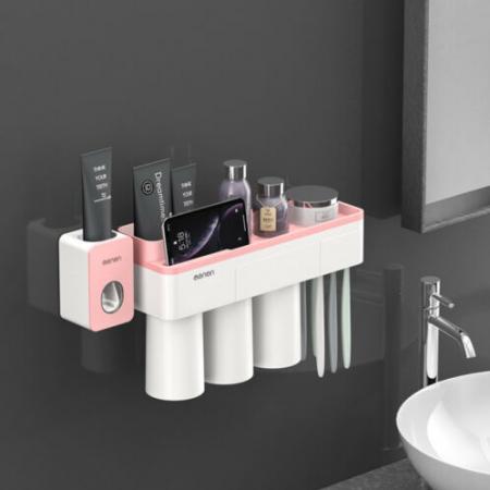 Dozator, dispenser pasta de dinti cu suport multifunctional magnetic pentru 3 pahare, 6 periute si suport telefon mobil de culoare roz cu alb0