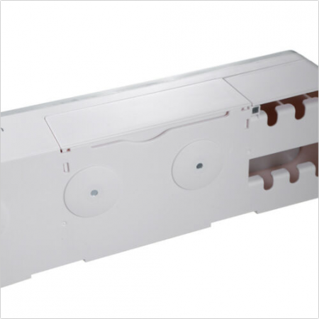 Dozator, dispenser pasta de dinti cu suport multifunctional magnetic pentru 4 pahare, 8 periute si suport telefon mobil de culoare gri cu alb3