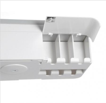 Dozator, dispenser pasta de dinti cu suport multifunctional magnetic pentru 4 pahare, 8 periute si suport telefon mobil de culoare gri cu alb2