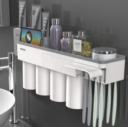 Dozator, dispenser pasta de dinti cu suport multifunctional magnetic pentru 4 pahare, 8 periute si suport telefon mobil de culoare gri cu alb0