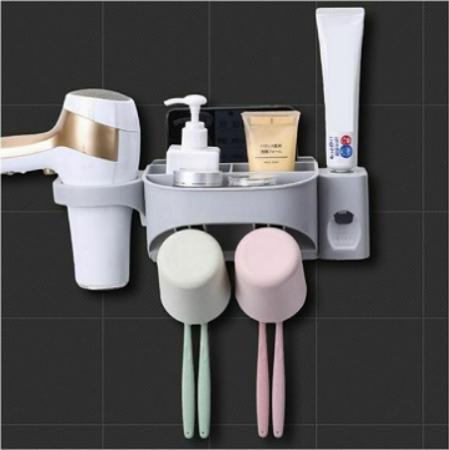 Dozator, dispenser pasta de dinti cu suport multifunctional pentru 2 pahare, 4 periute si uscator de par de culoare gri0
