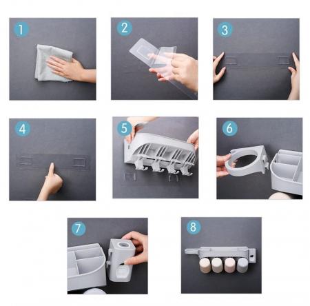 Dozator, dispenser pasta de dinti cu suport multifunctional pentru 2 pahare, 4 periute si uscator de par de culoare gri2