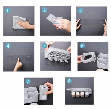 Dozator, dispenser pasta de dinti cu suport multifunctional pentru 4 pahare, 8 periute si uscator de par de culoare gri2