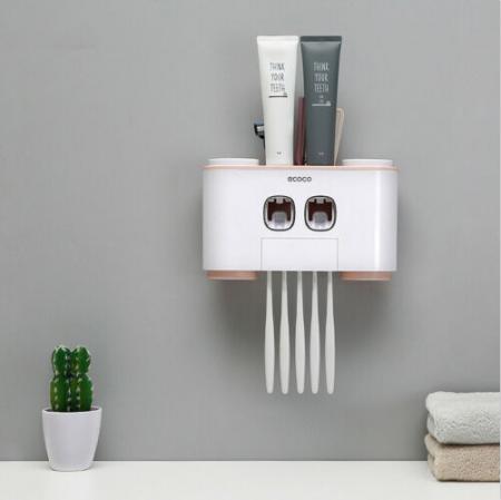 Dozator, dispenser pasta de dinti multifunctional cu suport magnetic pentru 4 pahare, 5 periute si suport accesorii de culoare roz cu alb2