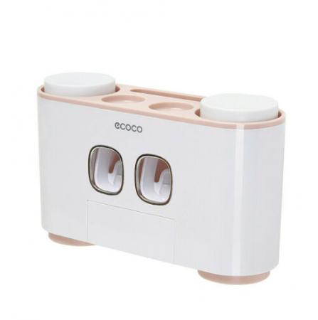 Dozator, dispenser pasta de dinti multifunctional cu suport magnetic pentru 4 pahare, 5 periute si suport accesorii de culoare roz cu alb0