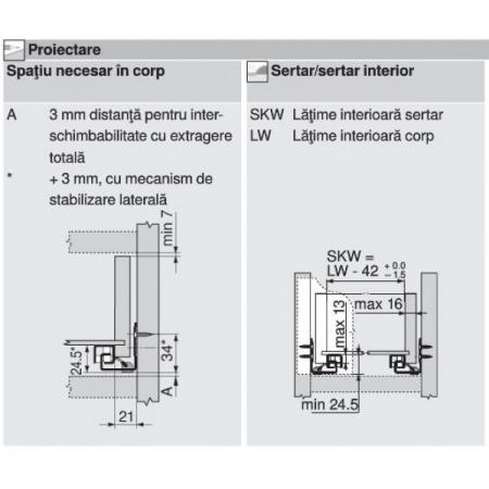 Glisiera TANDEM BLUM 400 mm cu amortizare si extragere partiala3