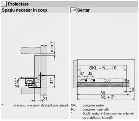 Glisiera TANDEM BLUM 450 mm cu amortizare si extragere totala2