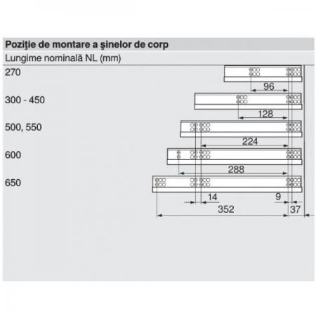 Glisiera TANDEM BLUM 550 mm cu amortizare si extragere partiala2