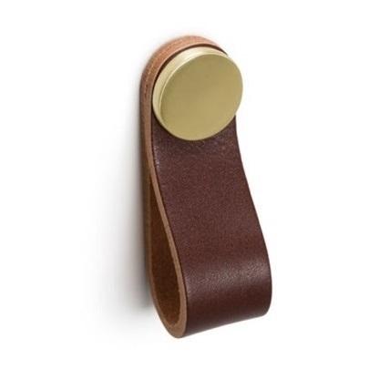 Maner, buton Flexa din piele maro pentru mobilier, cu ornament finisaj alama, L: 70 mm [0]