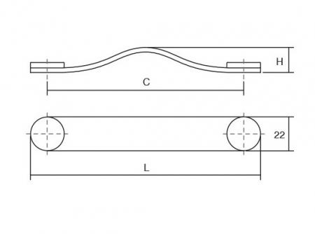 Maner Flexa din piele bej pentru mobilier, cu ornament crom lustruit, L:150 mm1