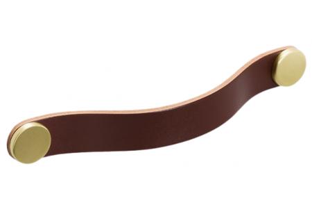 Maner Flexa din piele maro pentru mobilier, cu ornamente finisaj alama, L: 150 mm [0]