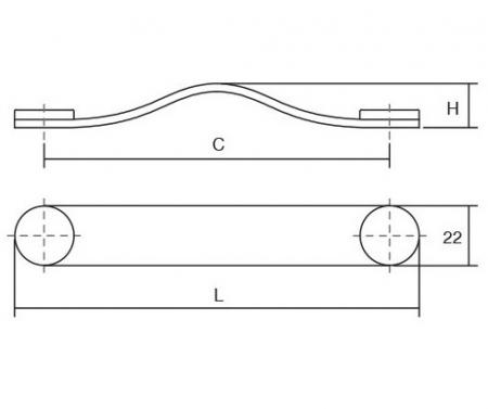 Maner Flexa din piele neagra pentru mobilier, cu ornamente finisaj alama, L: 150 mm2