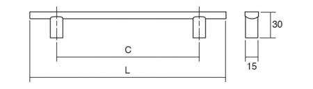 Maner pentru mobila Ara, finisaj otel inoxidabil, L:156 mm [1]